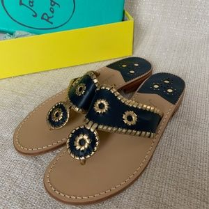 NWT Jack Rogers Sandals 8 Navy Gold